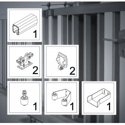 FST107AZ bis 7 m, KOMPLETT-Kit, Schiebetor Aluminium Beschlag, freitragend