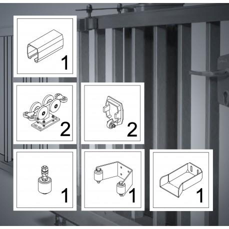 FST150A bis 7m Komplett Kit bis 600kg Torgewicht, Schiebetor Aluminium Beschlag