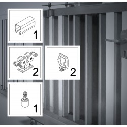 FST150A bis 9,5m ECO Kit bis 600kg Torgewicht, Schiebetor Aluminium Beschlag