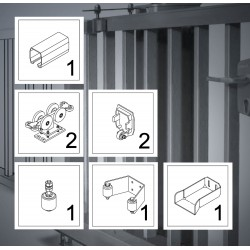 FST150A bis 9,5m Komplett Kit bis 600kg Torgewicht, Schiebetor Aluminium Beschlag