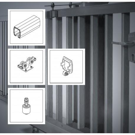 FST107A bis 4,5m ECO Kit bis 450kg Torgewicht, Schiebetor Aluminium Beschlag