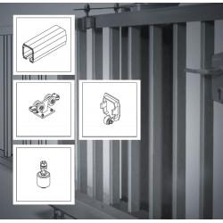 FST107A bis 7m ECO Kit bis 450kg Torgewicht, Schiebetor Aluminium Beschlag